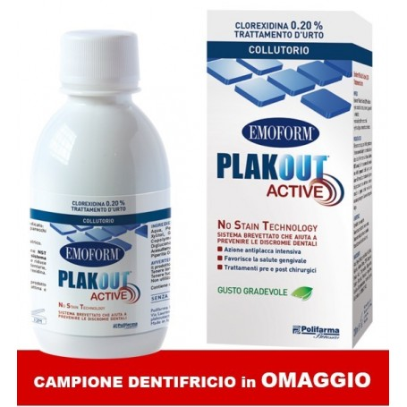 Plak Out Active 0,20% Collutorio Clorexidina + Dentifricio in OMAGGIO